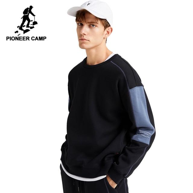 Pioneer Camp grube bluzy dla mężczyzn O neck ciepły polar moda Streetwear czarne bluzy dla mężczyzn AWY905051