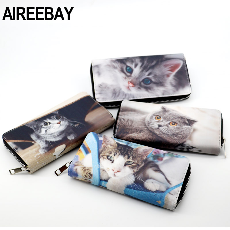 AIREEBAY 3D Printing Women's Wallets Soft PU Leather Cats Animal Pattern Lady Coin Purse Small MoneyBags Wallet Purse Bags