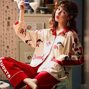 Image 2 - 2019 yeni pamuk pijama sonbahar kış baskılı gecelikler seksi yeşil pijama pijama takım elbise rahat uyku seti sevimli karikatür ev tekstili