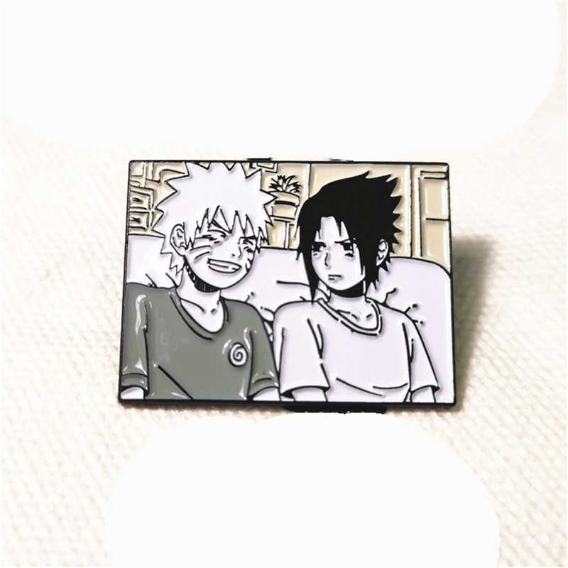 1pcs Anime Naruto Cartoon Hokage Uzumaki Naruto Uchiha Sasuke Metalen Pin Badge Broche Pin voor Rugzak Decor Cosplay Prop hot