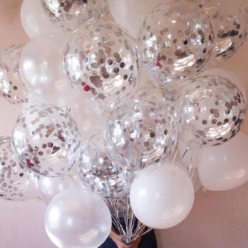 14 unids/set de globos de confeti de plata, globo de látex, temática de boda romántica, decoración de fiesta de cumpleaños, suministros para fiesta de bienvenida al bebé