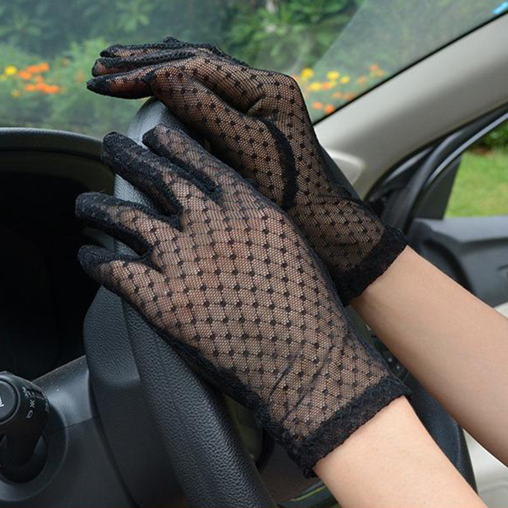 Sexy Lace Mesh Gloves Women Summer Black Anti UV Sunscreen Driving Gloves Lady Elegant Full Finger Glove Party Dance Mittens