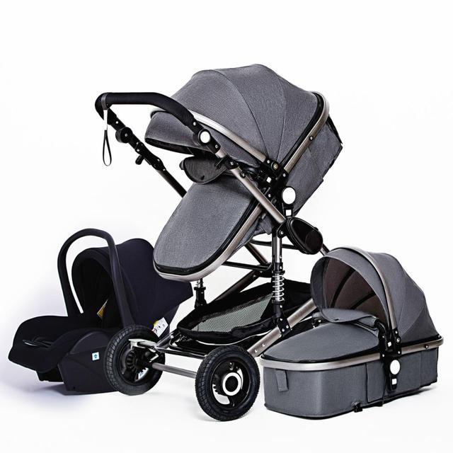 Luxuoso carrinho de bebê 3 em 1 portátil viagem carrinho de bebê dobrável carrinhos quadro alumínio alta paisagem carro para o bebê recém-nascido 6