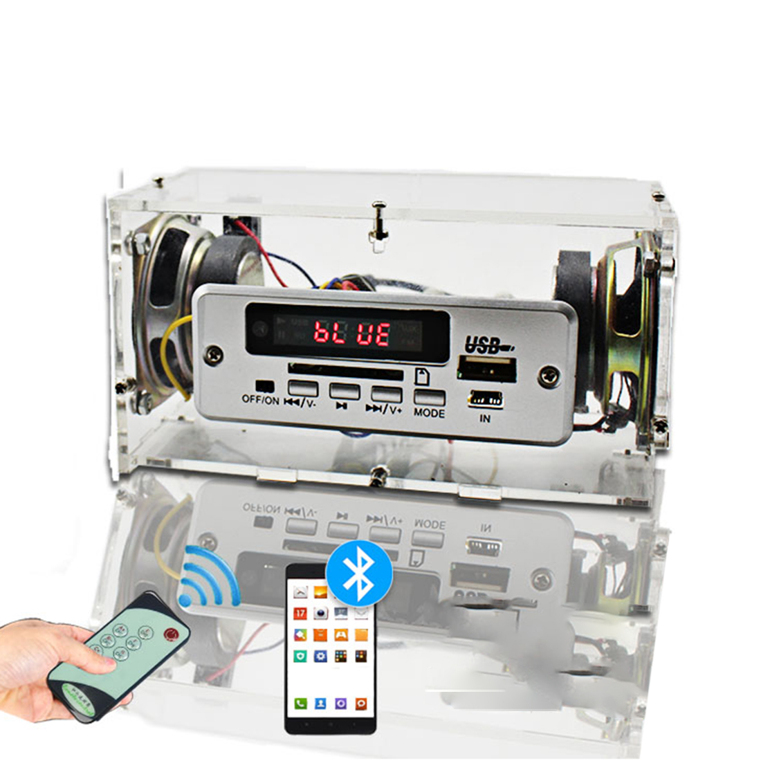 DIY Mini Bluetooth Speaker Kit MP3 Small Speaker Sound Amplifier With Remote Control Double Speakers - (Without Power Supply)