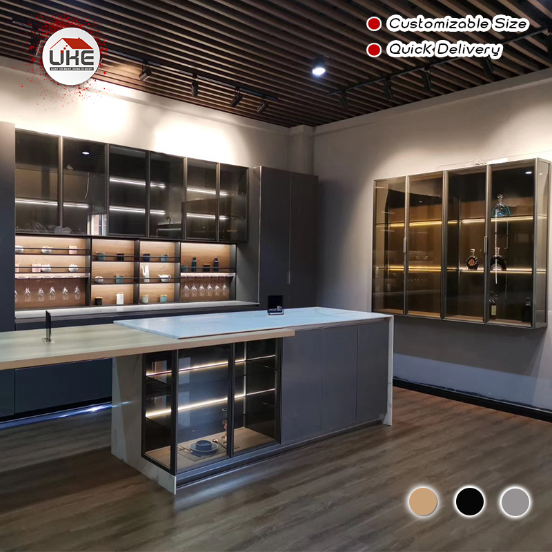 UKE Custom Made Aluminum Cabinet Frame Doors For Kitchen, Wardrobe With Integrated Handles