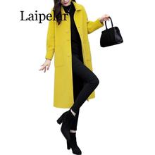Autumn Winter Long Women Woolen Coat 2019 High Quality Slim Yellow Black Camel Coat Jacket Ladies Elegant Wool Blends Outerwear