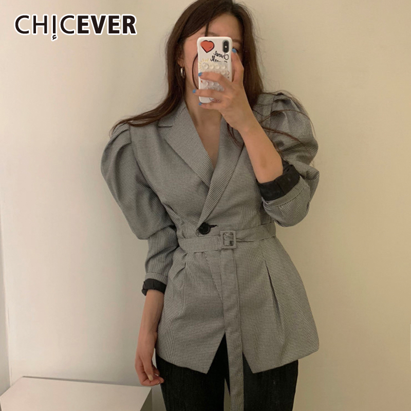 CHICEVER Korean Chic Style Lace Up Blazer Female Notched Puff Sleeve High Waist Tunic Coat Tops 2020 Spring Fashion New Clothing
