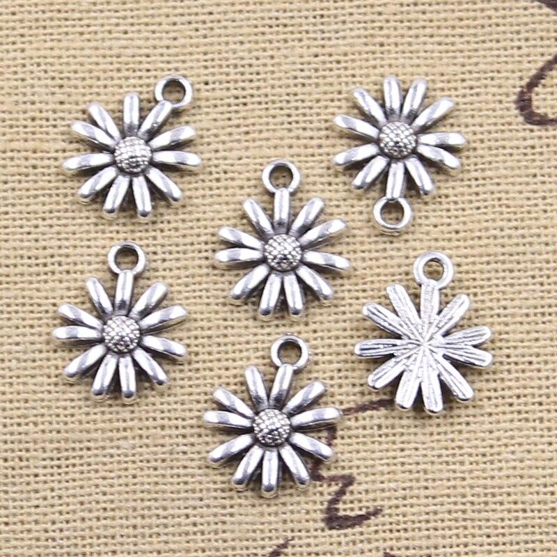 20 штук Подвески Дейзи цветок подсолнуха 14x12 мм антикварные подвески из серебра ювелирных изделий DIY ручной Тибетский поиск ювелирные издели...