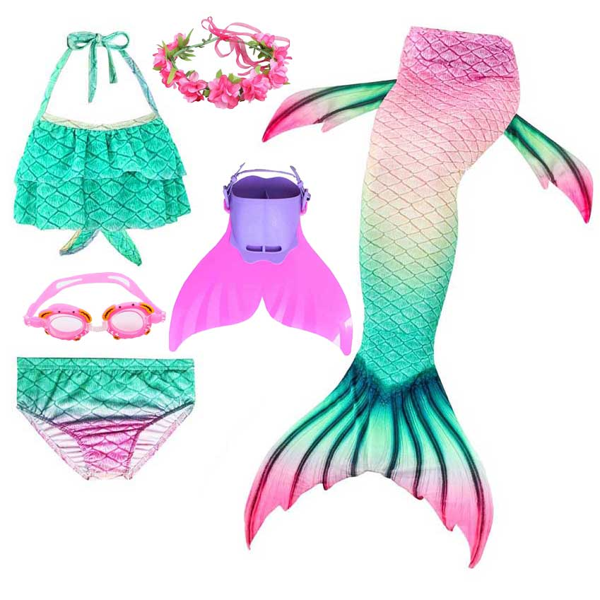 2020 New Swimming Mermaid Tail For Girls Children Fish Cosplay 3pcs Sparkle Mermaid Dress And Bikni Swimsuit Animal Costume