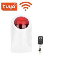 Tuya-sirena de alarma a prueba de agua para exteriores, Sensor de sonido inalámbrico de 130DB, sistemas de seguridad para el hogar, Alexa, Google, IFTTT
