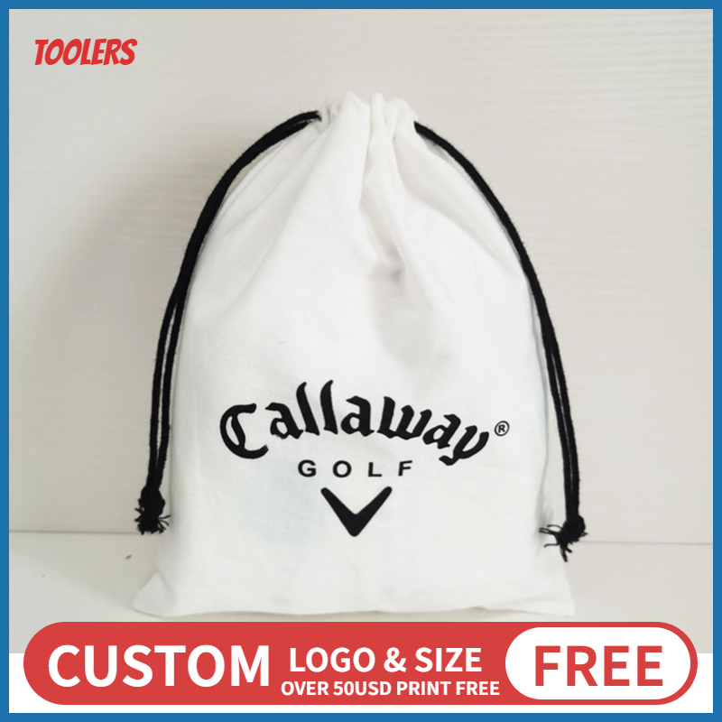 50pcs 15x20cm White 100% Cotton Custom Logo Drawstring Bag Shoes Jewelry Makeup Cosmetic Beauty Products Storage Package Bag