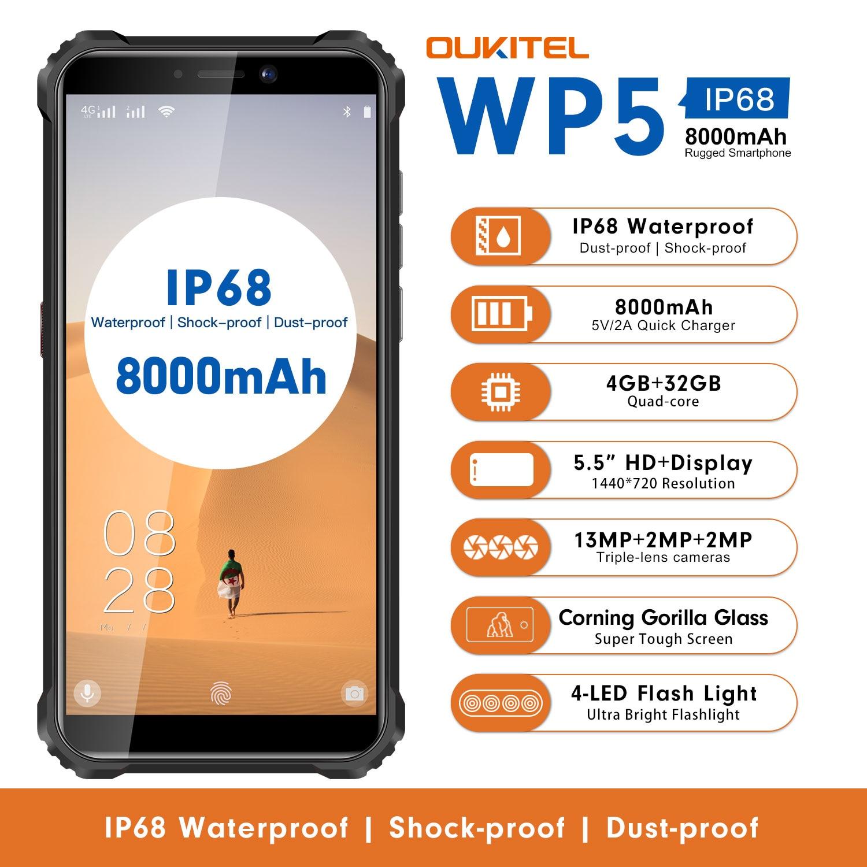 OUKITEL WP5 смартфон с 5,5 дюймовым дисплеем, четырёхъядерным процессором MTK6761, ОЗУ 4 Гб, ПЗУ 32 ГБ, 18:9, Android 9,0