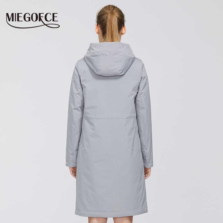 MIEOGOFCE 2020 nowa wiosna trencz długi damski wiatrówka ciepły damski bawełniany płaszcz z podstawą kołnierz nowy projekt kobiety płaszcz