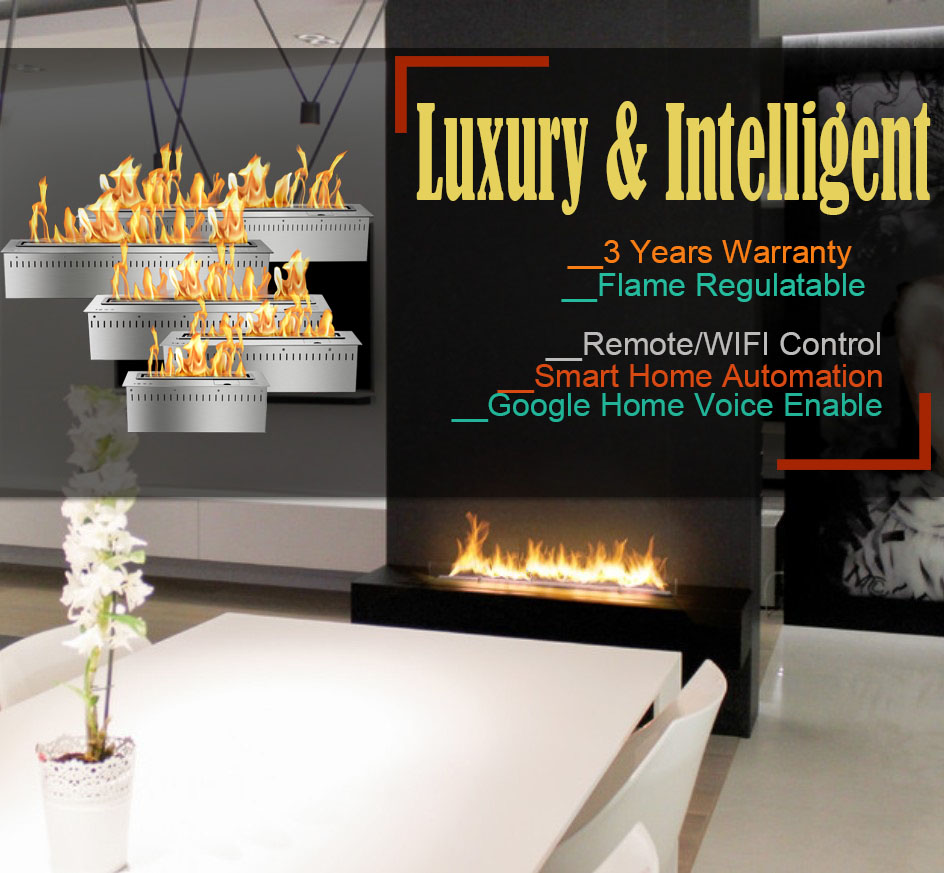 Hot Sale 30 Inches Wifi Automatic Intelligent Smart Bio Ethanol Fireplace Indoor Wall