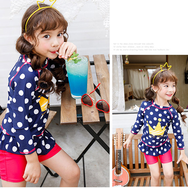 2018 New Style Sweet Cute GIRL'S Bathing Suit Split Type High Waist Skirt-Long Sleeve Sun-resistant Children Large Children Swim