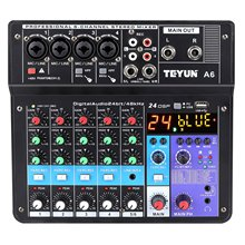 Wireless 6-Kanal Audio Mixer Tragbare Sound Mischpult Usb-schnittstelle Computer Eingang 48V Phantom Power Monitor für eingang