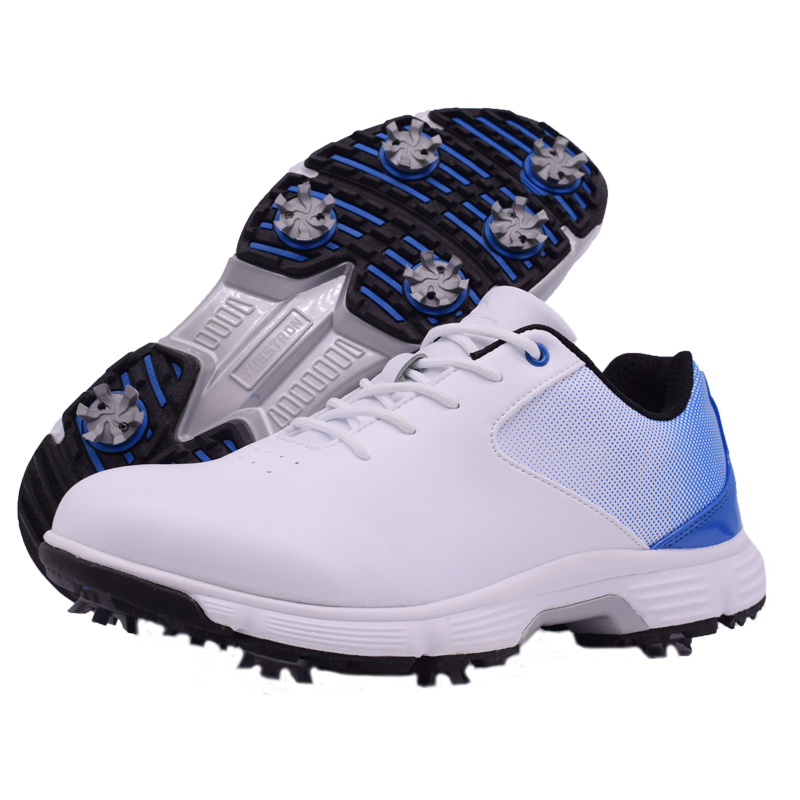 Men Professional Golf Shoes Waterproof Spikes Golf Sneakers Black White Mens Golf Trainers Big Size Golf Shoes for Men 8