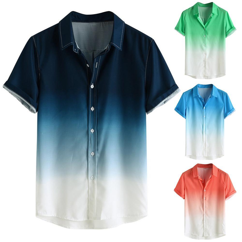 2020 New Stylish Men's Shirts Camisa Gradient Loose Male Shirt Blusa Masculina Casual Short Sleeve Turn-Down Collar Shirt Men