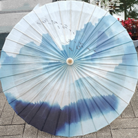 Classical Chinese Blue Ink Painting Handmade Handle Bamboo Oiled Paper Umbrella Photo Dance Props Stage Shows Art Decor LF686