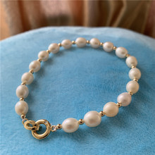2019 New Genuine Natural Freshwater Baroque Pearl Bracelets & Bangles For Women Crystal Beads Jewelry Gift