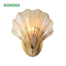 где купить Wall Light Nordic Postmodern Luxury Copper Glass Shell Led Wall Art Bedroom Lamp for Home Nursery Hallway Living Room Decoration по лучшей цене