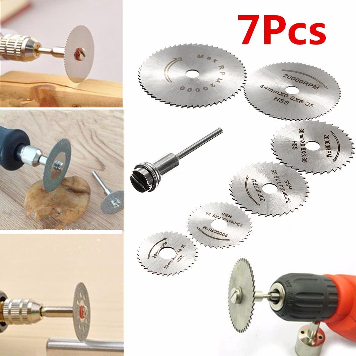 7Pcs HSS Circular Saw Blade + 1Pcs HSS Circular Rotary Blade Wheel Discs Mandrel For Wood Cutting Saws Tool Accessories Kit