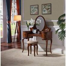 Классический американский стиль туалетный столик и столик для макияжа Набор стульев для спальни WA612