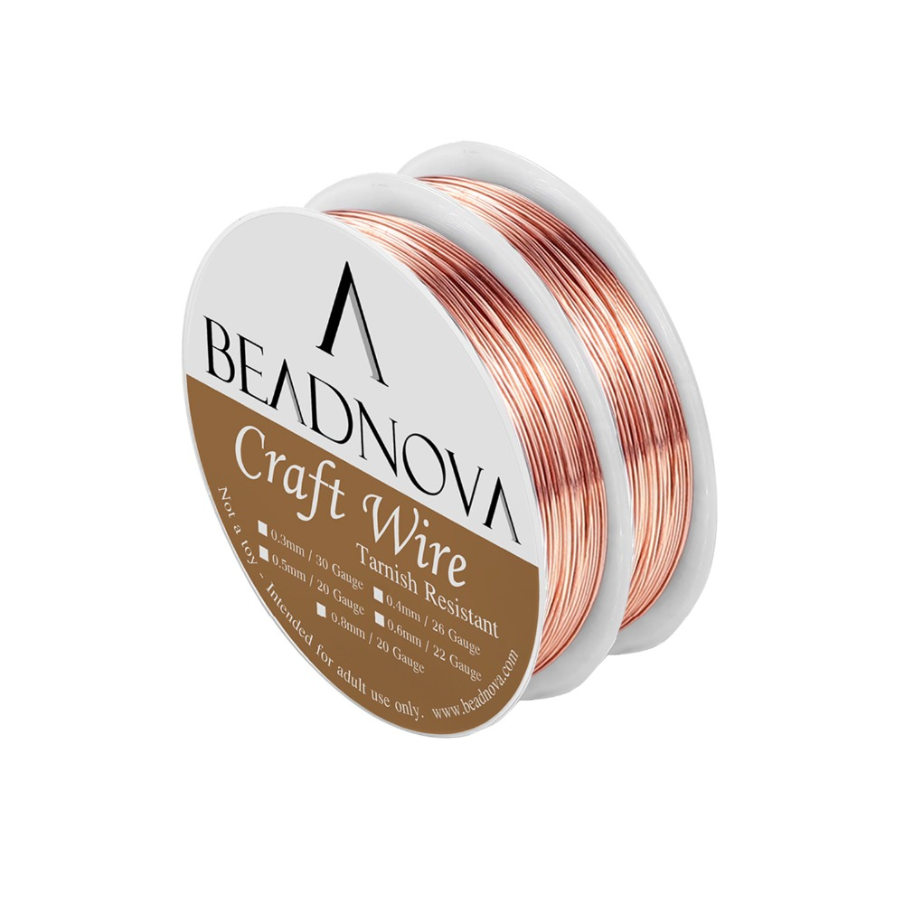 BEADNOVA 26/22/20 Gauge Tarnish Resistant Bare Copper Wire For Jewelry Making (2 Rolls Pack)
