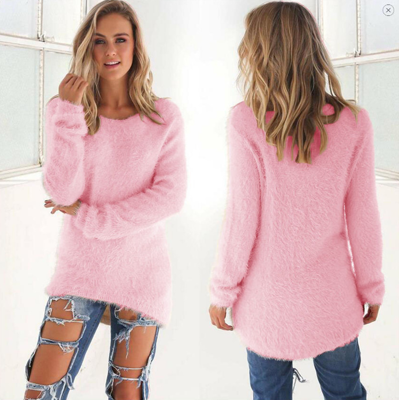 2019 Autumn Winter Women Round Neck Loose Sweater Knitted Ladies Female Sweater Plus Size Casual Solid Color Plush Sweater -A109