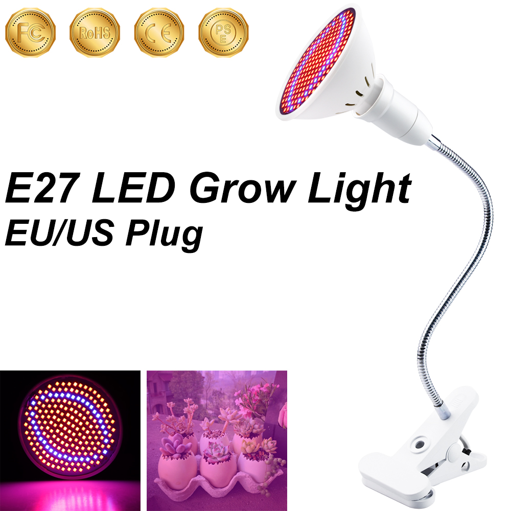 LED Plant Growth Lamp Full Spectrum LED Grow Lights Flower Growing Lamp E27 Holder Clip For Indoor Room Seed Hydro Grow Box