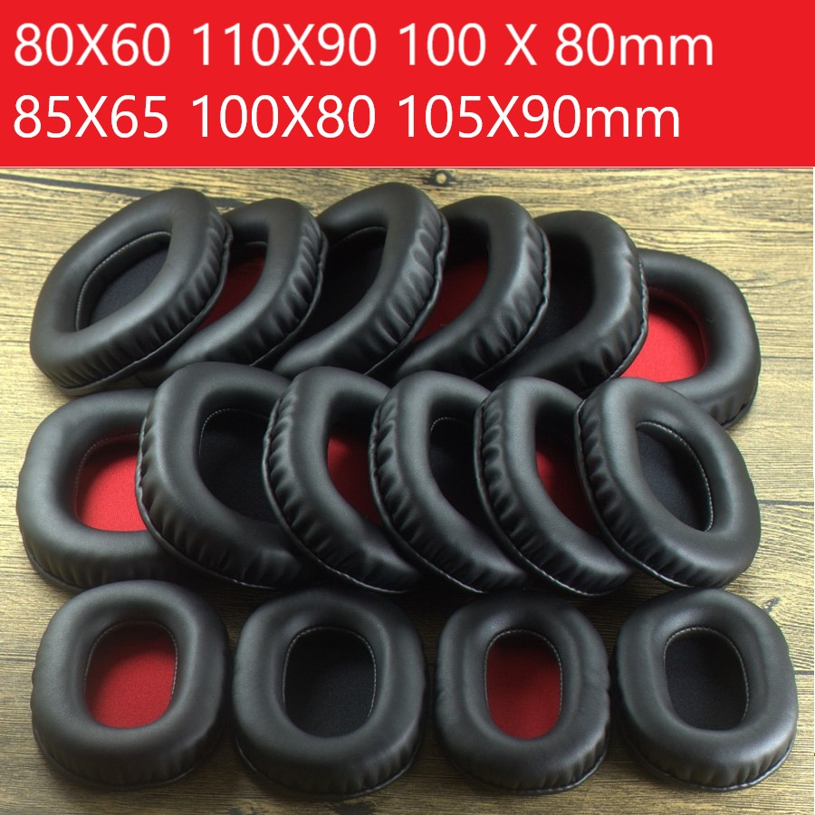 Square Oval Headphone Earpads Replacement Soft Leather Memory Foam Ear Pads Cover 80X60 100 X 85 110X90mm Full Size Earpads