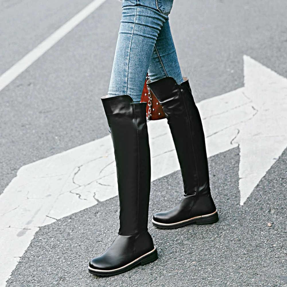 Yeni kadın diz çizmeler üzerinde 2020 sıcak satış moda şövalye çizmeler fermuar düz ayakkabı kadın kadın ayakkabı 34-43