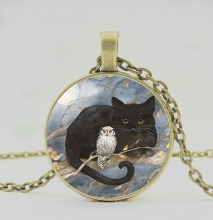PENDANT NECKLACE with cat and owl design of retro art, men women wear