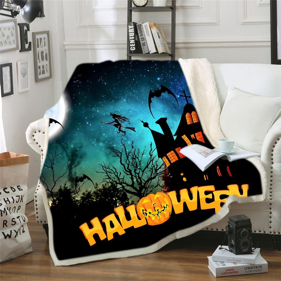 Home Textile Blankets Lovely Cartoon Happy Halloween Design Soft Warm Coral Fleece Micro Plush Fleece Sofa Bedding Throw Blanket