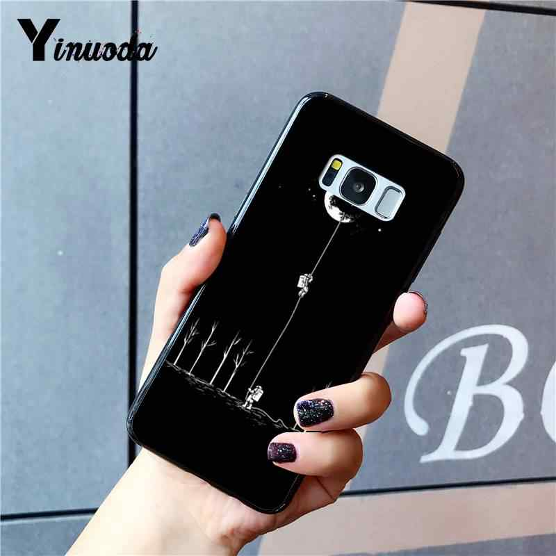 Yinuoda negro con Luna Blanca estrellas espacio astronauta cliente alta funda de teléfono para Samsung Galaxy S9 Plus S3 S6 7 8 9 S10 E S9
