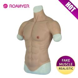 Roanyer Realistische Fake Spier Buik Macho Realistische Siliconen Kunstmatige Simulatie Spier Man Skin Up Body