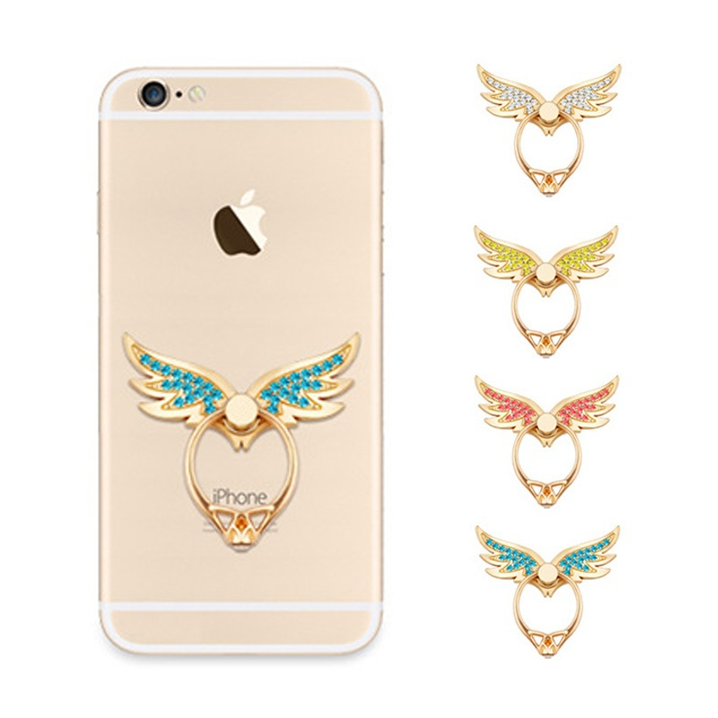 Angel Wings Finger Ring Socket Phone Holder For All Phone Desktop Stand Diamond Mobile Phone Holder Stand Bracket