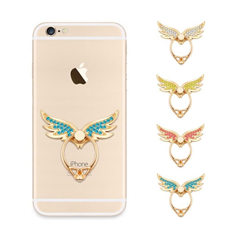 Angel Wings Finger Ring Socket Phone Holder For All Phone Desktop Stand Diamond Mobile Phone Holder Stand Bracket