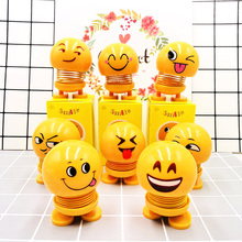 Shaking head toy car accessories doll cute cartoon funny expression shaking head robot auto parts Unisex 2019 new hot sale premium new funny spring man emoji emotion face expression figure shaking head doll for children toys gifts car decor supplies
