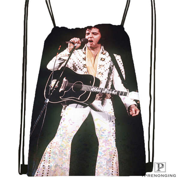 Custom Elvis-presley-  Drawstring Backpack Bag Cute Daypack Kids Satchel (Black Back) 31x40cm#2018611-211