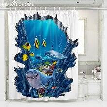 Waterproof Fabric Shower Curtain 3D Ocean Dolphin Sea Seabed Fish Corals Underwater Bathroom Shower Bath Curtains duschvorhang