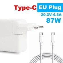Carregador 87w USB C para macbook pro, modelo a1706 a1707 a1708 a1719 eu plug de tomada,