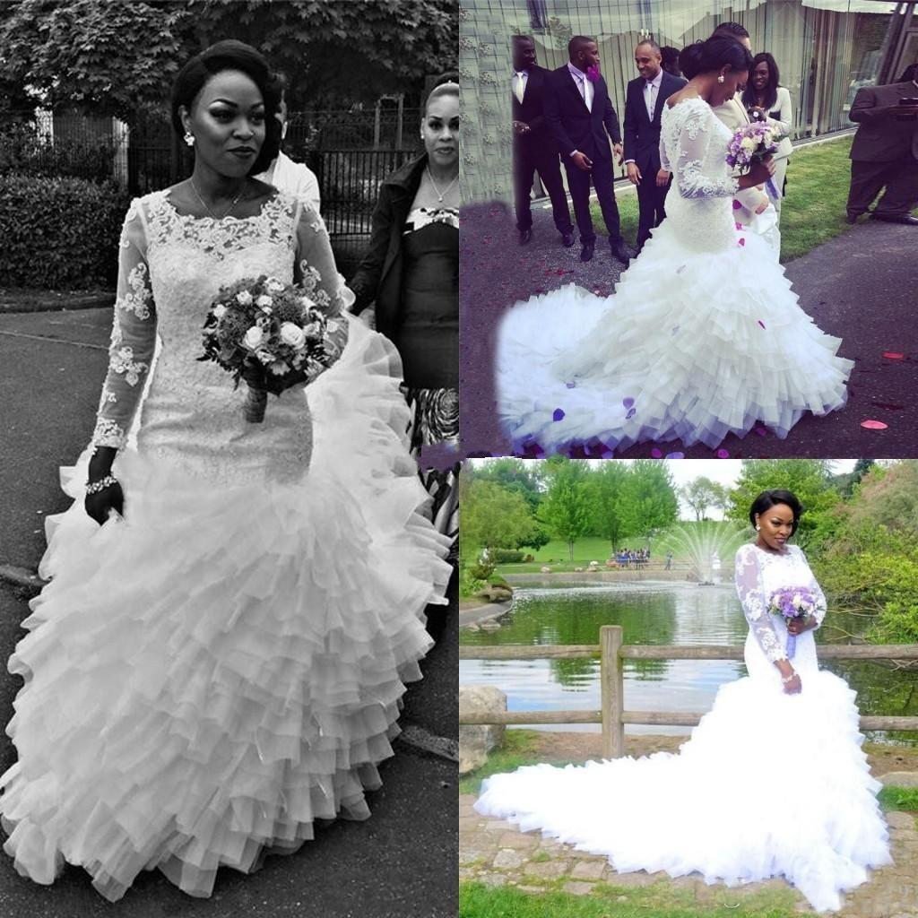 Dentelle volants africaine sirène robes de mariée pure à manches longues niveaux grande taille équipée 2018 robe de mariée Train robe de mariée