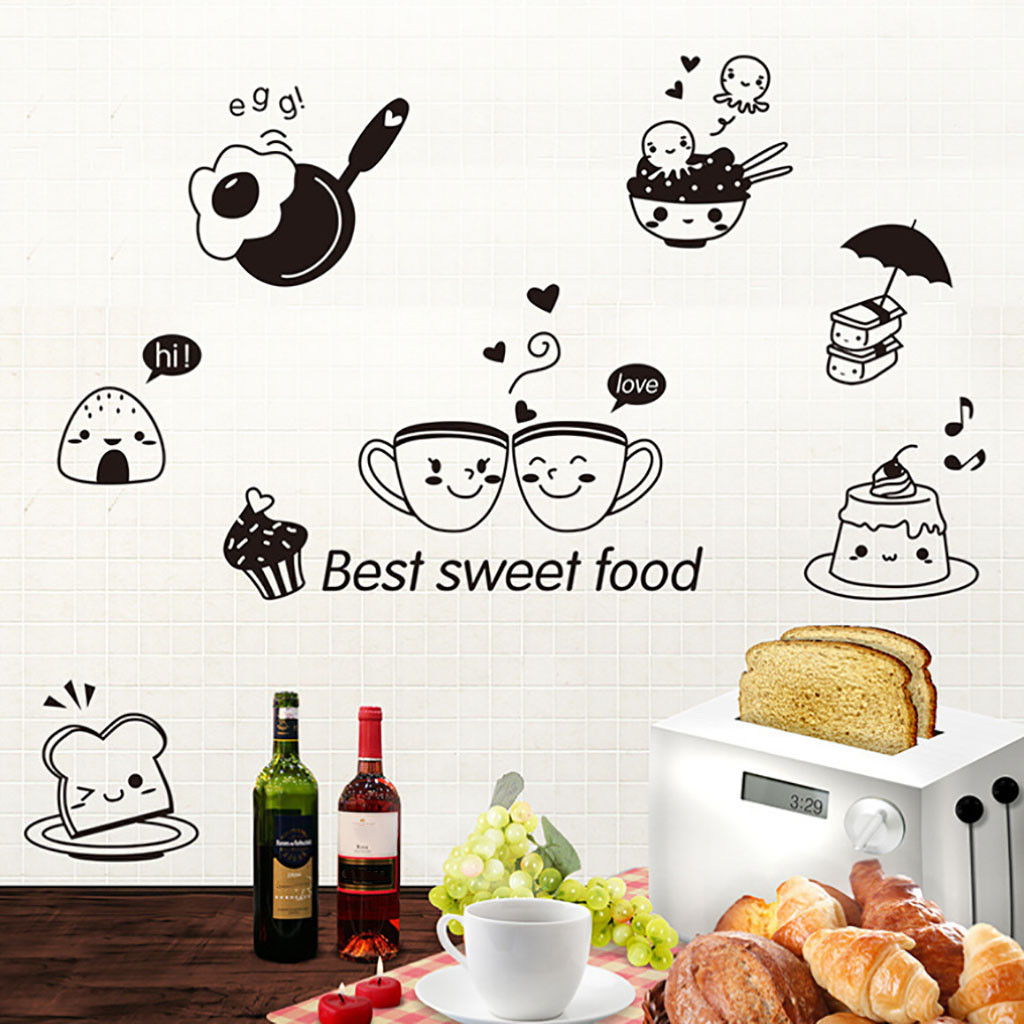 Kitchen Wall Stickers Coffee Sweet Food DIY Wall Art Decal Decoration Oven Decor Creative Comfortable Warmth Quality Exquisite