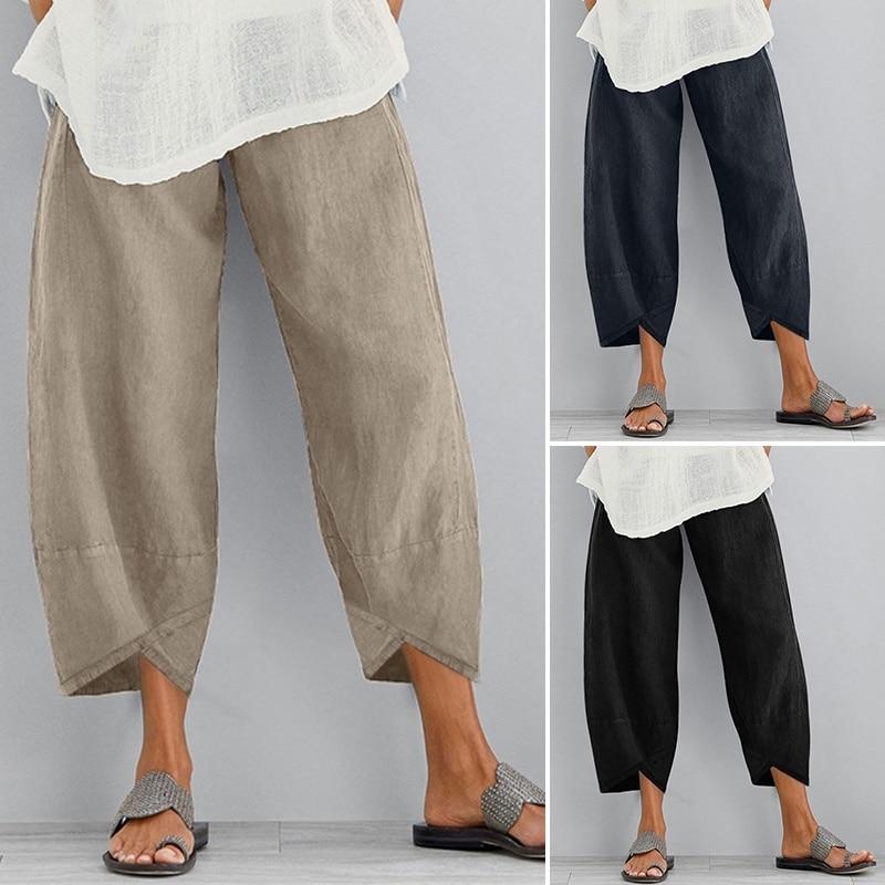 Summer Women Cotton Linen Pants Elastic Waist Solid Color Pocket Trousers Wide Leg Casual Loose Beach Cropped Capris Plus Size