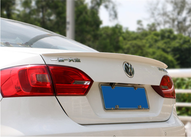 For Volkswagen Jetta Spoiler 2012-2014 Sagitar spoiler High Quality ABS Material Car Rear Wing Primer Color Rear Spoiler