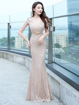 Sequined Evening Dress 2020 Luxury Long Noble Lady Vestidos De Fiesta Sexy Prom Mermaid Gown Party V-neck Dresses Robe De Soiree