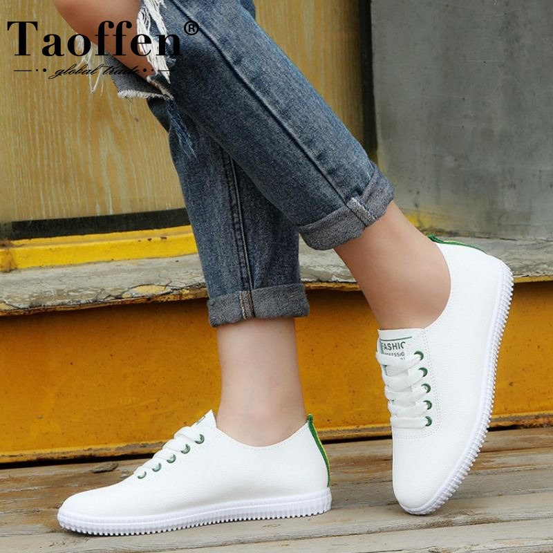 TAOFFEN Women Sneakers Vulcanized Shoes Lace Up Round Toe Casual Women Shoes Fashion Women Shoes Footwear Size 35-40