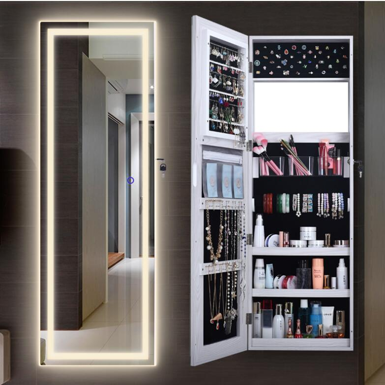 Wardrobe mirror female household with lamp wall hanging mirror to receive cabinet bedroom simple modern fitting mirror whole bod
