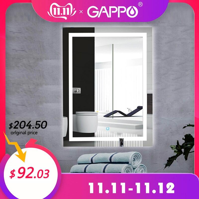 Gappo espelhos de banho led espelho cosmético fixado na parede luzes do banheiro maquiagem espelhos retângulo interruptor toque luz ajustável